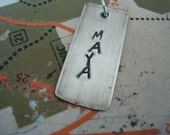 hand stamped personalized sterling silver handstamped WIDE rectangle tag add on