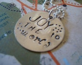 hand stamped personalized JOY to the world sterling silver handstamped necklace