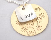 hand stamped personalized two tone sterling silver and brass handstamped necklace FLOWER BOUQUET...
