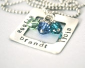 hand stamped personalized handstamped sterling silver rectangle washer pendant
