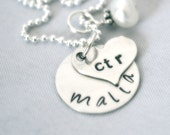 hand stamped personalized sterling silver disc and heart handstamped necklace LEXI ...