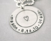 hand stamped personalized handstamped sterling silver two name date necklace...