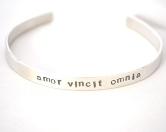 hand stamped personalized sterling silver custom OUTSIDE handstamped bracelet cuff...