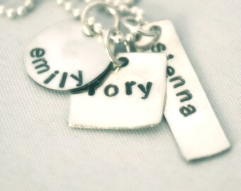 hand stamped personalized handstamped sterling silver charm name necklace RORY...