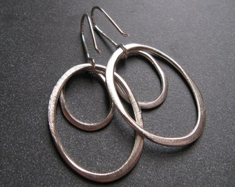 Sterling Silver Double Organic Oval Hoops