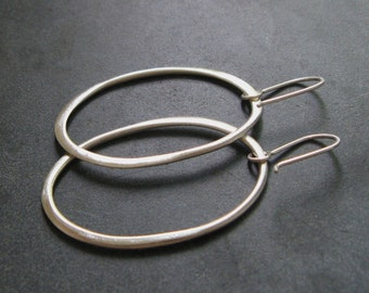 Large Sterling Silver Organic Oval Hoops