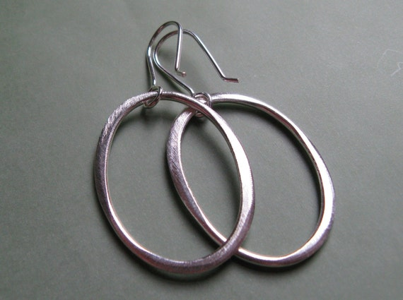 Medium Sterling Silver Organic Oval Hoops