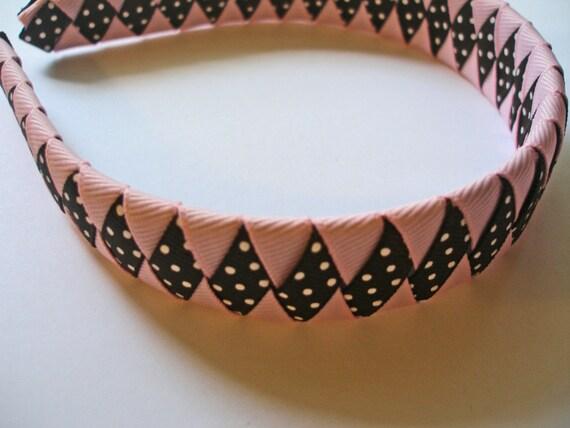 Girl's Brown and Pink Woven Ribbon Headband