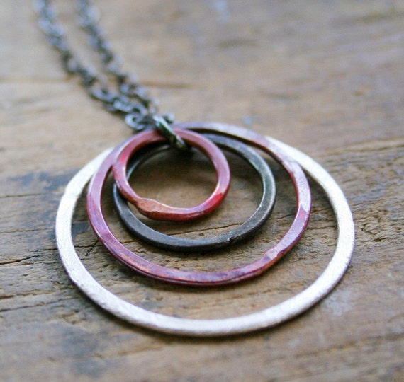 Circles of silver, oxidized silver, rosey copper on oxidized sterling silver chain necklace family of four kids mothers day seven jewelry