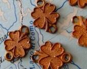 vintage shamrock 4 leaf clover charms