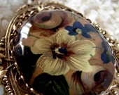 Vintage Upcycled Snake Chain Vintage Floral Cabochon Necklace - Faded Glory