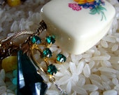 OOAK Vintage Charm Bracelet with Sappire, Green Pearls, Vintage Yellow Glass and Turquoise Beads