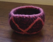 Pink Zig Zags Felted Bowl