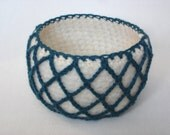 Felted Mesh Bowl,  Blue-Green/Cream