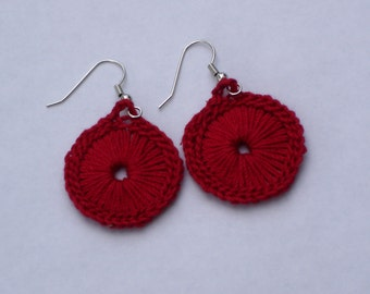 Crocheted Sunburst Medallion Earrings--Red
