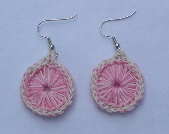 Crocheted Sunburst Medallion Earrings--Berries & Cream