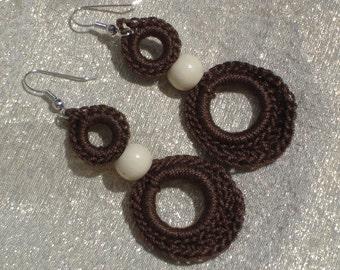 Crocheted Double Loop Earrings--Brown
