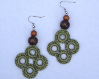Green Clover Crocheted Earrings