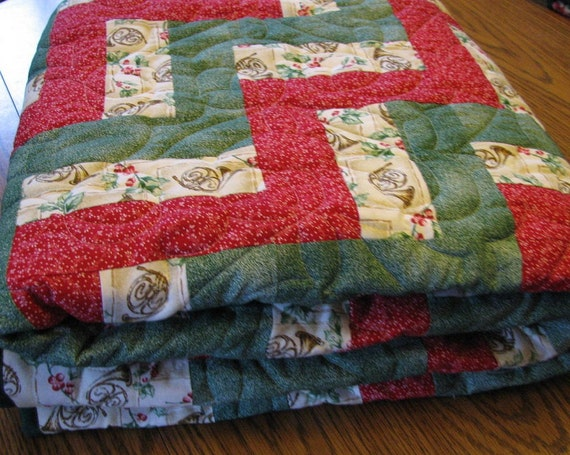 Sale Christmas Rail Fence Lap Quilt by lmkquilts on Etsy