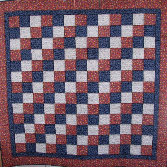 RESERVED FOR Kim Schau  SALE  Red White Blue Floral Quilt