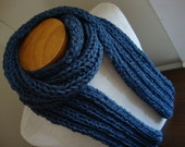 Dude Scarf man scarf boyfriend scarf hand knit scarf wool scarf long scarf blue scarf sapphire blue for him for dad scarves for men