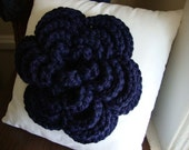 Throw Pillow Bling, jumbo sized 3-D Wool Blend Flower adornment in navy blue