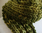 Dude Scarf man scarf boyfriend scarf hand knit scarf wool scarf thick fat scarf green scarf forest green for him for dad scarves for men