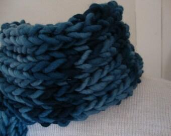 Dude Scarf man scarf boyfriend scarf hand knit scarf wool scarf thick fat scarf blue scarf sapphire blue for him for dad scarves for men