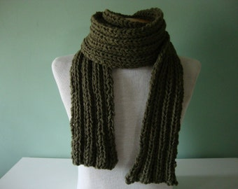 Dude Scarf man scarf boyfriend scarf hand knit scarf wool scarf long scarf green scarf army camo green for him for dad scarves for men