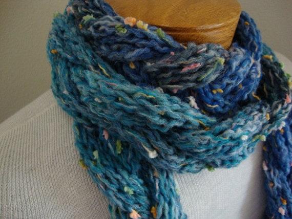 ON SALE Caribbean Ocean braided wool blend hand knit scarf, deep blues and grays with confetti flecks