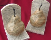 Vintage French Text Pear Book Ends- USA Shipping Included