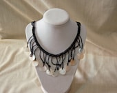 SALE Beautiful Black And White Handmade Vintage Seed Bead And Shell Necklace(FEATURED) jewelry handmade art choker housewares accessories