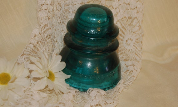 Blue Green Vintage Glass Insulator(FEATURED ITEM)  Collectible Antique (gk)  Use In Home Decor Or Use In Assemblage Art Or Craft Projects