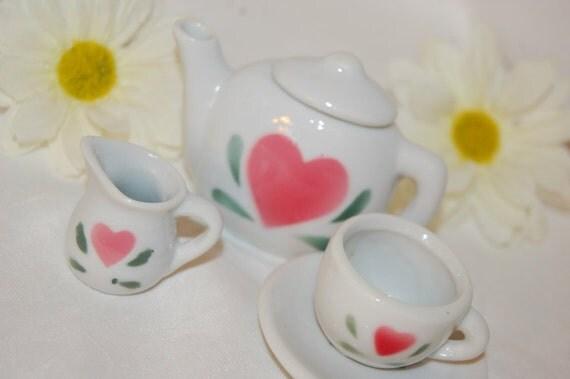 Pink Heart Flower Tea Set (FEATURED ITEM)Cute Miniature Ceramic Toy Collectibles Doll Dish Porcelain Teacup Teapot Vintage Supplies