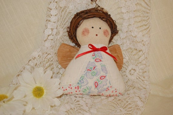 Antique Quilt Angel Ornament Decoration Handmade Collectible Mini Grapevine Halo Christmas Vintage Holiday Sewing Supplies Home Decor Doll