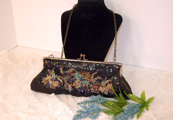 Beautiful Antique Beaded Sequin Handbag (FEATURED) Black Clutch Purse Vintage Collectibles Handmade Accessories Flower accessories Applique