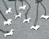 Sterling Silver Custom Puppy Silhouette Necklace
