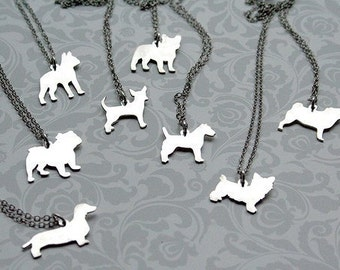 Fine Silver Custom Puppy Silhouette Necklace