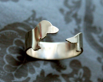 Fine Silver Long haired Dachshund Dog Ring