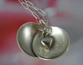 Love Locket - sterling silver necklace, custom stamped message, Valentines Day, bridesmaids, wedding, Mothers Day