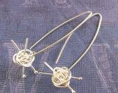Knit me something earrings - knitting earrings, gift for knitter, for the love of knitting, sterling silver handmade