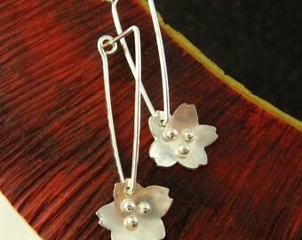 Tiny sakura teardrop sterling silver earrings - stay put ear wires - bridal, weddings, bridesmaids, Mothers Day