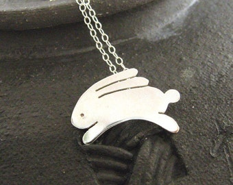 Littlest bunny sterling silver necklace - Easter, nature lover, bunny love, sweet 16, handcut from sterling silver