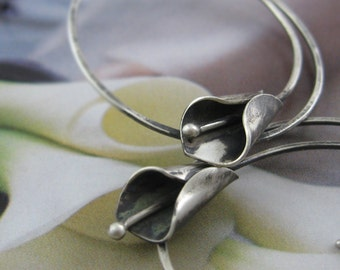 Black calla lily hoop earrings - oxidized sterling silver, modern hoops, hand shaped calla lily, wearthou original design