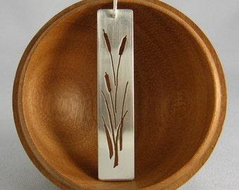 Cattails bar pendant, marsh plant, nature lover, marshlands, bulrush, reedmace, corn dog grass, wearthou original