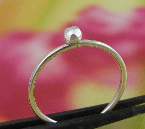 Faceted sterling silver ring - layer with simplicity rings - delicate, simple, minimalist - skinny band, 2 dollar shipping