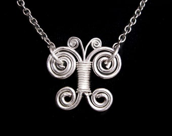 Spiral Butterfly Sterling Silver Wire-Wrapped Pendant Necklace
