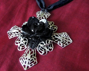 The Rose - Celluloid Filigree and Silk Necklace