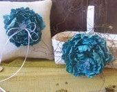 Wedding Ring Burlap Pillow and Rustic Flower Girl's Basket