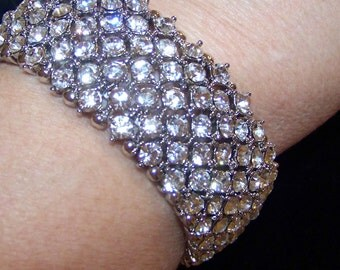 Wedding Bridal Silver and Rhinestone Bracelet Brides-Bridesmaid